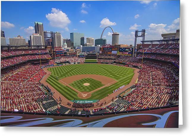 Busch Stadium St. Louis Cardinals Ball Park Village #3b Greeting Card by David Haskett