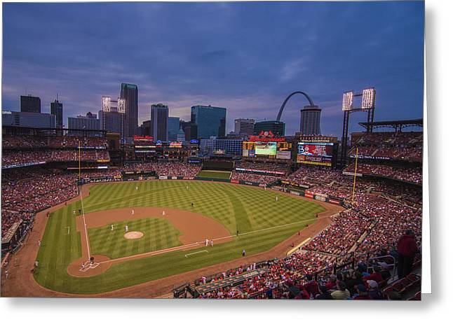 Busch Stadium St. Louis Cardinals Ball Park Village Twilight #3c Greeting Card by David Haskett