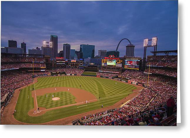 Boys Of Summer. Greeting Cards - Busch Stadium St. Louis Cardinals Ball Park Village Twilight #3c Greeting Card by David Haskett