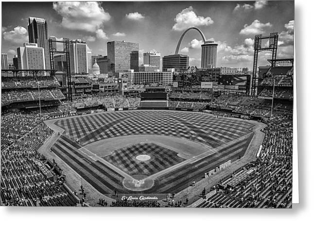 Boys Of Summer Greeting Cards - Busch Stadium St. Louis Cardinals Black White BallPark Village Greeting Card by David Haskett