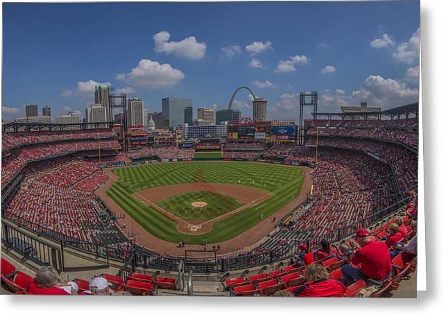 Baseball Stadiums Greeting Cards - Busch Stadium St. LouisCardinals 11b Pano Cardinal Greeting Card by David Haskett