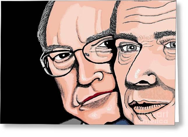 Republican Drawings Greeting Cards - Bush Cheney Greeting Card by Richard Heyman