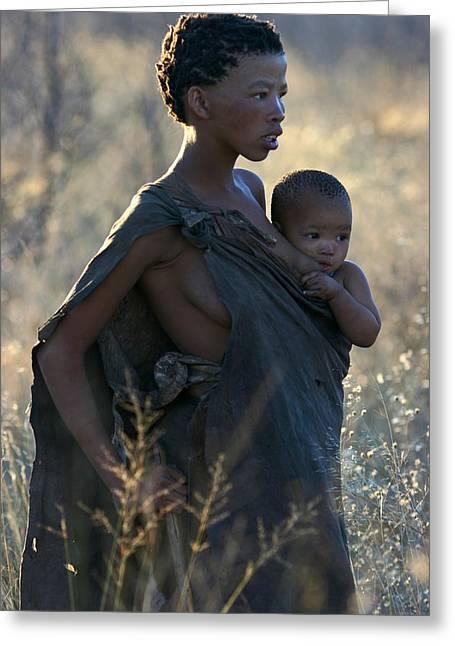Bushmen Mother And Child Greeting Card by Miranda  Miranda