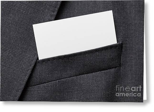 Cardboard Greeting Cards - Business card in suit pocket Greeting Card by Shaun Wilkinson