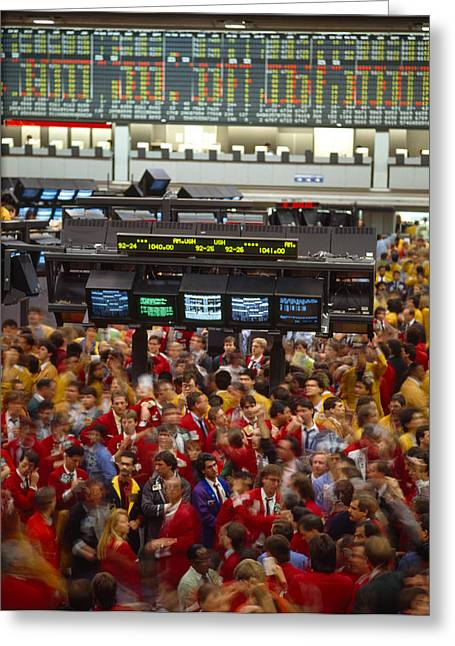 Stock Exchange Greeting Cards - Business Executives On Trading Floor Greeting Card by Panoramic Images