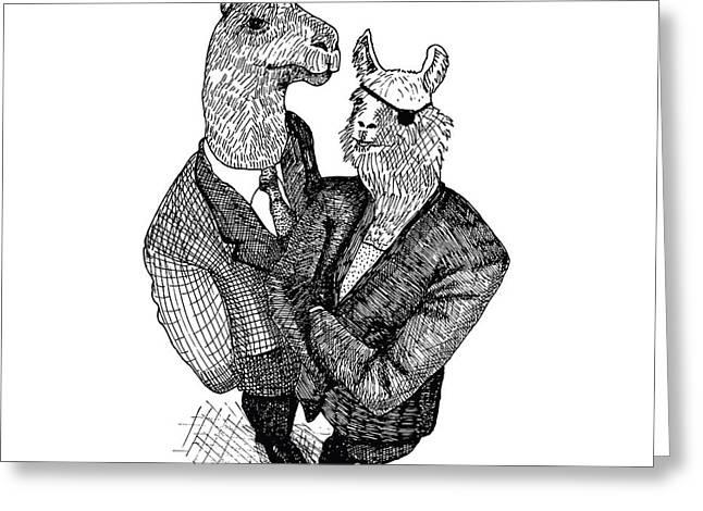 Llama Drawings Greeting Cards - Business Llamas Greeting Card by Karl Addison