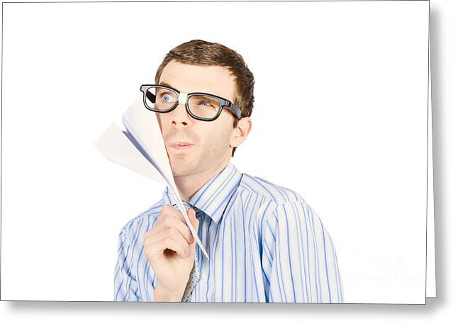 Business Man Devising Trajectory With Paper Plane Greeting Card by Jorgo Photography - Wall Art Gallery