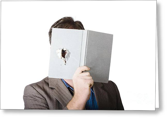 Business Man Peeking Through Spyhole In Book Greeting Card by Jorgo Photography - Wall Art Gallery