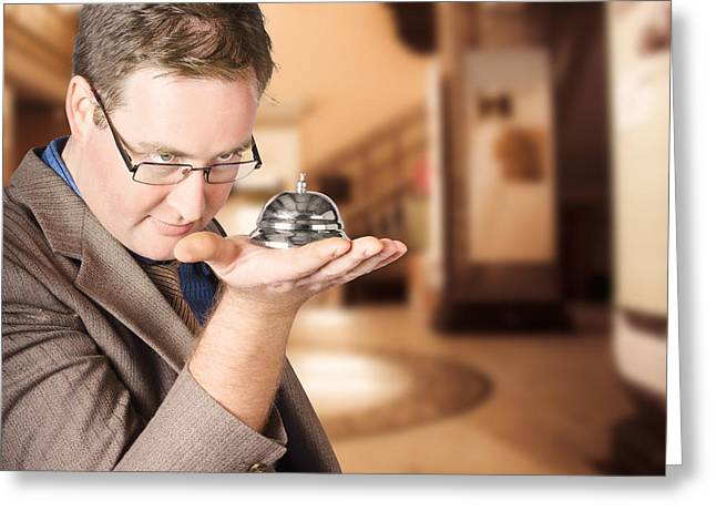 Business Man With Service Bell. Consumer Advice Greeting Card by Jorgo Photography - Wall Art Gallery