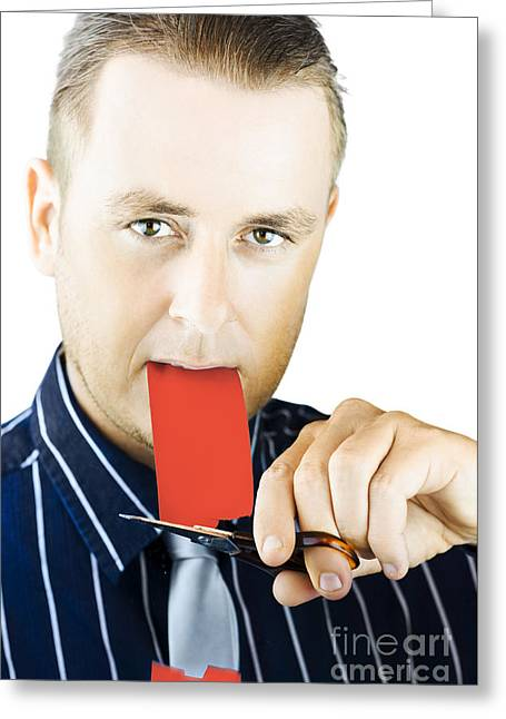 Business Person Cutting The Red Tape Greeting Card by Jorgo Photography - Wall Art Gallery