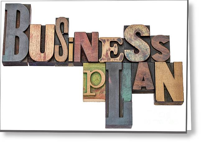Project Type Greeting Cards - Business Plan Typography In Wood Type Greeting Card by Marek Uliasz