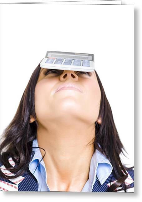 Business Woman Balancing Finance Accounts Greeting Card by Jorgo Photography - Wall Art Gallery