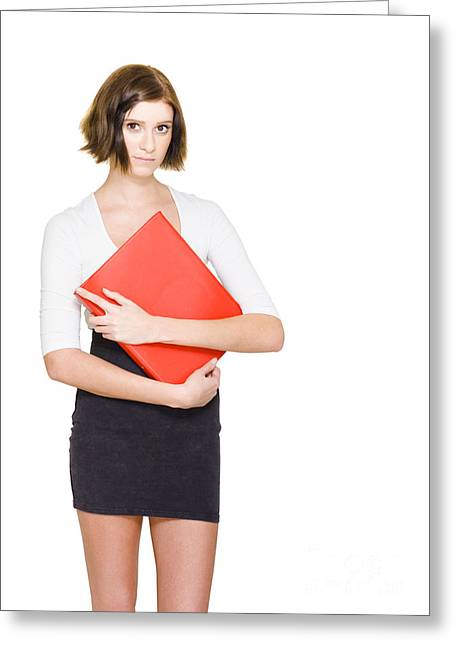 Shyness Greeting Cards - Business Woman On Her First Day At A New Job Greeting Card by Ryan Jorgensen