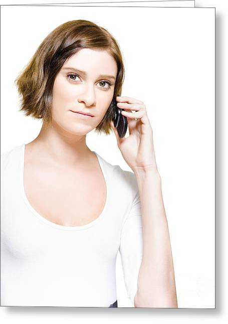 Cellphone Greeting Cards - Business Woman On Mobile Phone Studio Portrait Greeting Card by Ryan Jorgensen