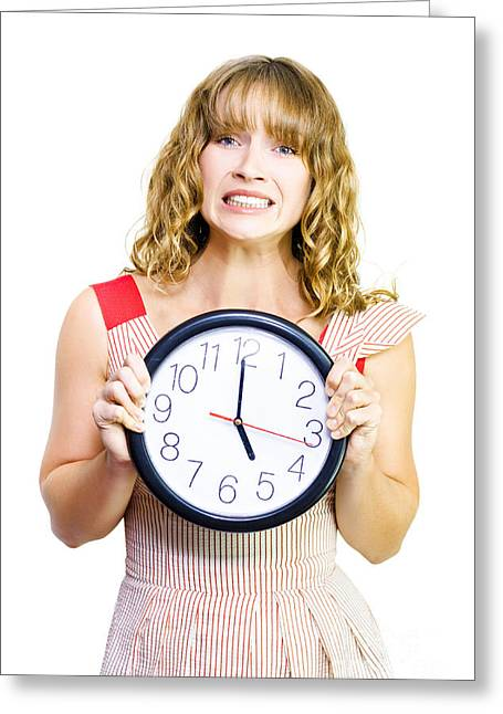 Overdue Greeting Cards - Business woman out of time Greeting Card by Ryan Jorgensen