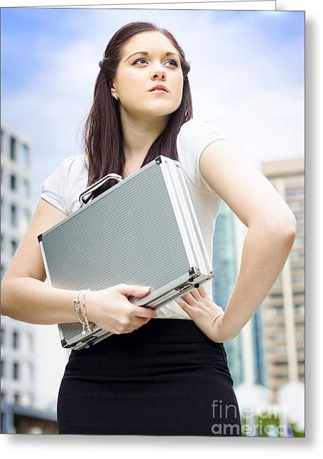 Business Woman With Dreams Aspirations And Goals Greeting Card by Jorgo Photography - Wall Art Gallery