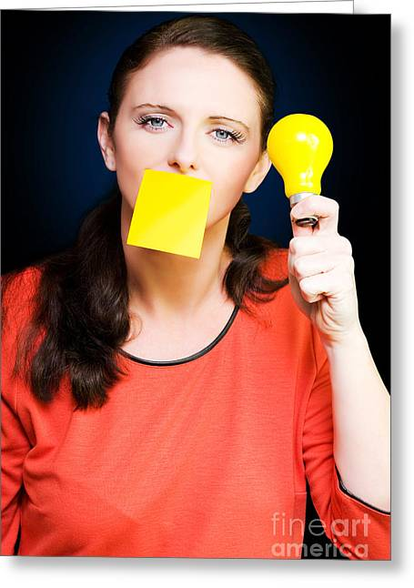 Electric Creation Greeting Cards - Business woman with idea holding yellow light bulb Greeting Card by Ryan Jorgensen