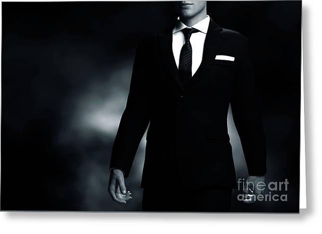 Businessman, Gentleman In Elegant Suit On Black Background. Middle Body Part View Greeting Card by Michal Bednarek