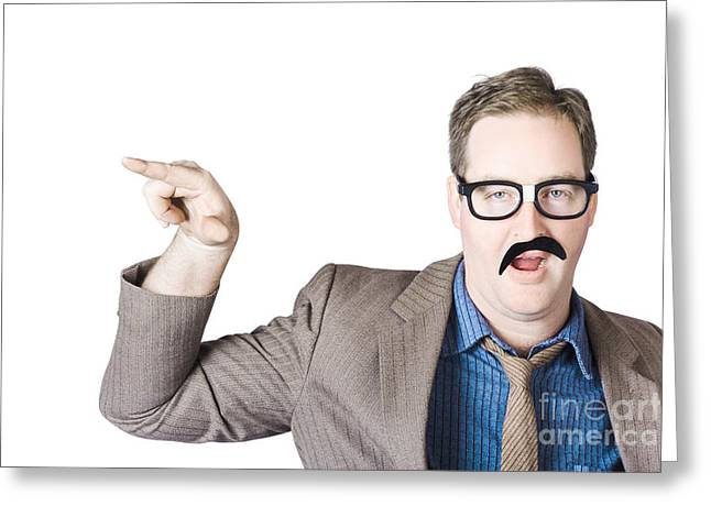Businesspeople Greeting Cards - Businessman Gesturing With Finger Greeting Card by Ryan Jorgensen