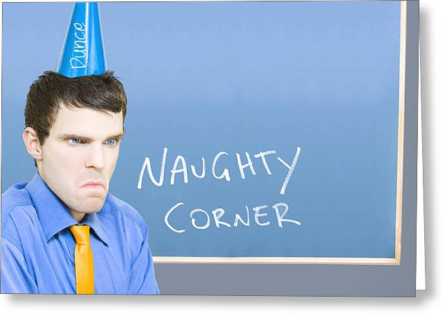 Dunce Greeting Cards - Businessman In Trouble Sitting In Naughty Corner Greeting Card by Ryan Jorgensen
