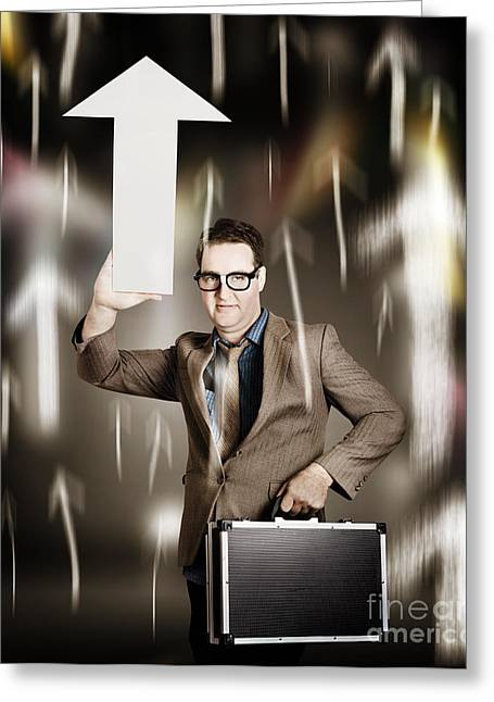 Businessman Pointing Up With White Arrow Symbol Greeting Card by Jorgo Photography - Wall Art Gallery