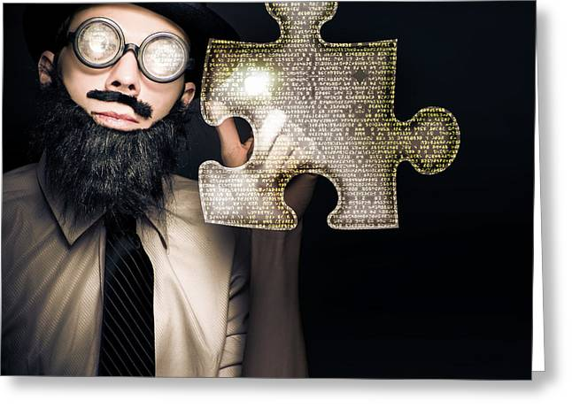 Marketing Strategy Greeting Cards - Businessman Puzzle Solving With Digital Solutions Greeting Card by Ryan Jorgensen