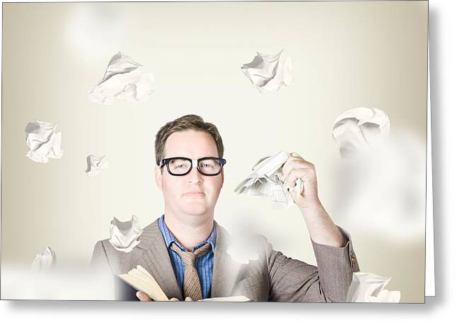 Upgrade Greeting Cards - Businessman revising strategy in choice for change Greeting Card by Ryan Jorgensen