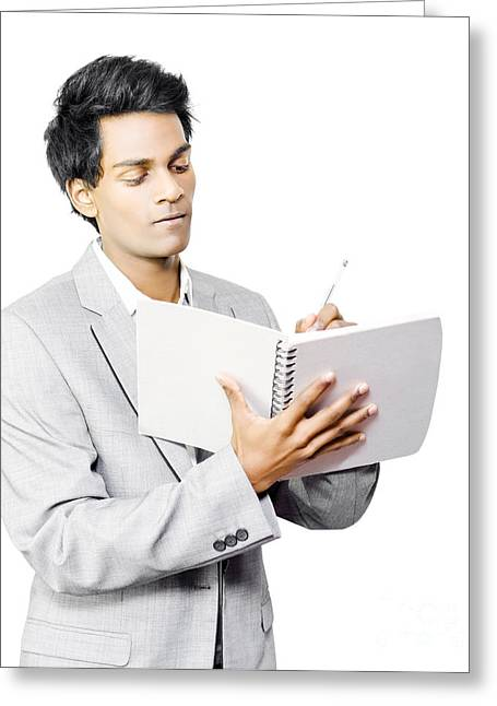 Businessman Taking Notes Greeting Card by Jorgo Photography - Wall Art Gallery