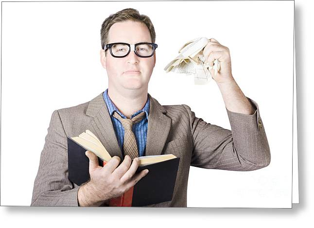 Businessman Tearing Pages From Book Greeting Card by Jorgo Photography - Wall Art Gallery