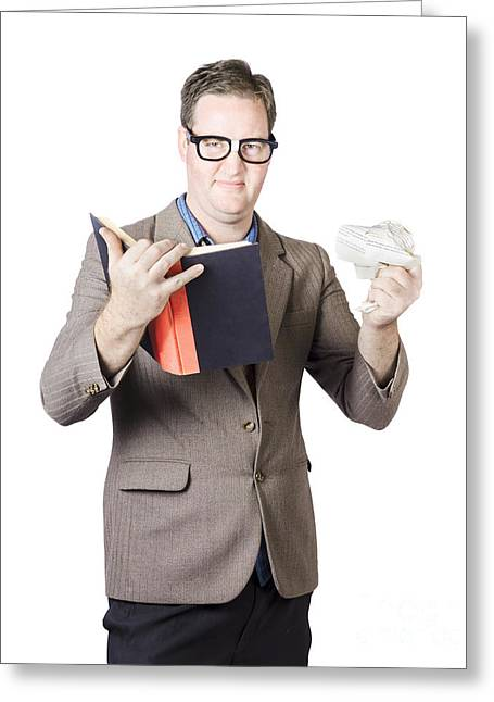 Rumpled Greeting Cards - Businessman With Book And Crumpled Paper Greeting Card by Ryan Jorgensen