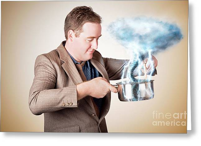 Strategy Greeting Cards - Businessman with plan cooking up strategic storm Greeting Card by Ryan Jorgensen