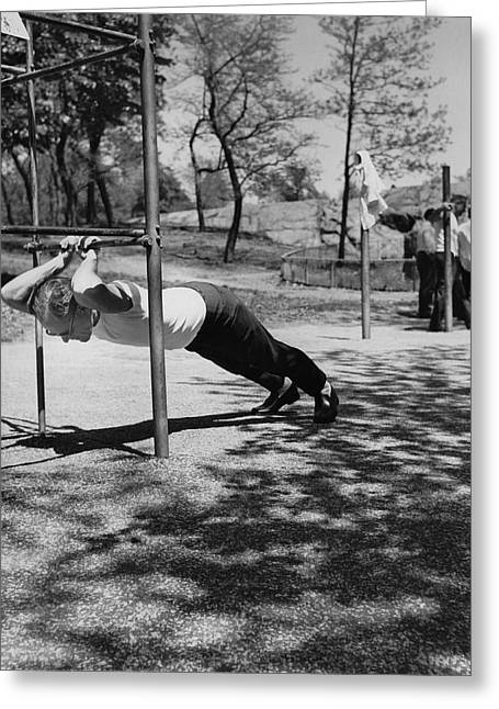 Businessmen Get Exercise Greeting Card by Underwood Archives