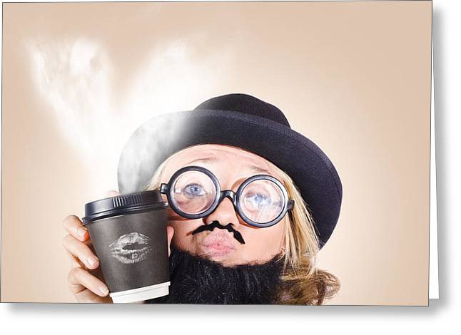 Pucker Greeting Cards - Businessperson Holding Disposable Coffee Cup Greeting Card by Ryan Jorgensen