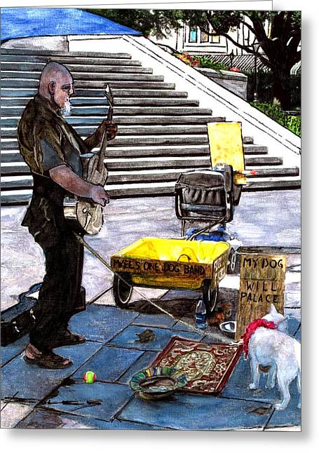 Busker With Dog Greeting Card by John Boles