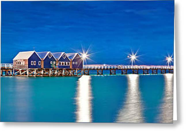 Award Photographs Greeting Cards - Busselton Jetty Full Length Panorama Greeting Card by Az Jackson