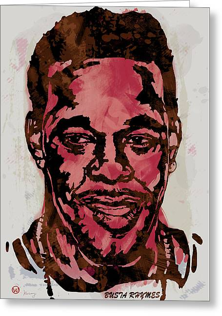 Receiver Greeting Cards - Busta Rhymes Pop Stylised Art Sketch Poster Greeting Card by Kim Wang