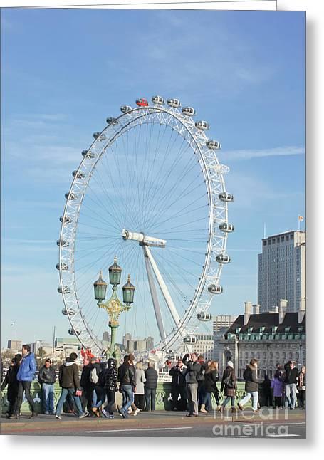 Bustling Past The Eye London Greeting Card by Terri Waters