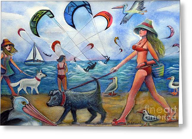 Kite Greeting Cards - Busy Beach Greeting Card by Karin Zeller