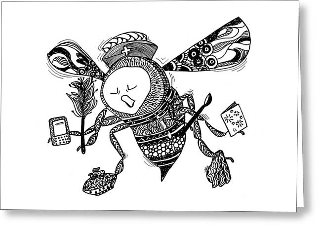 Recently Sold -  - White Drawings Greeting Cards - Busy Bee Greeting Card by The Sandwich  Woman