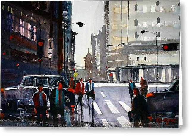 Pedestrians Greeting Cards - Busy City - Chicago Greeting Card by Ryan Radke