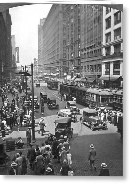 Busy State Street In Chicago Greeting Card by Keystone View Company