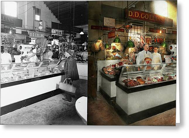 Butcher - Dd Collins Butcher 1915 Side By Side Greeting Card by Mike Savad