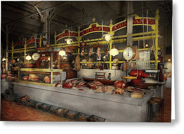 Butcher - Meat Party 1926 Greeting Card by Mike Savad