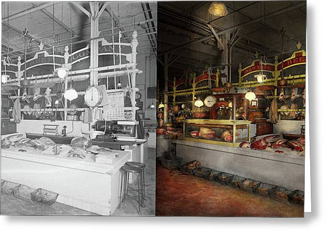 Butcher - Meat Party 1926 Side By Side Greeting Card by Mike Savad