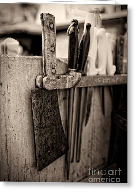 Butcher Knife Greeting Cards - Butcher shop knife rack Greeting Card by Andre Babiak