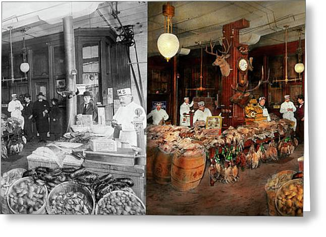Butcher - The Game Center 1895 - Side By Side Greeting Card by Mike Savad