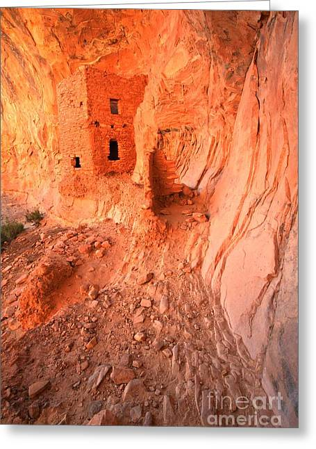 Ancient Ruins Greeting Cards - Butler Wash Ruins Greeting Card by Adam Jewell