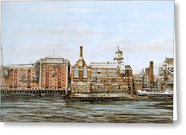 Courage Paintings Greeting Cards - Butlers Wharf and Courages Brewery Greeting Card by Mackenzie Moulton