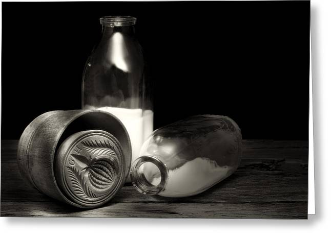 Butter Mold And Milk Bottles Greeting Card by Tom Mc Nemar