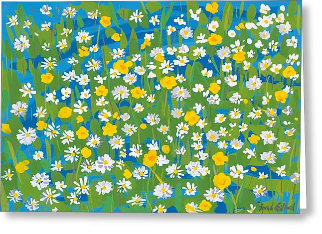 Green And Yellow Greeting Cards - Buttercups and Daisies Greeting Card by Sarah Gillard